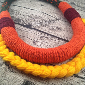 Tribal necklace,  Unique tribal wool necklace, Braided, Crochet, Kumihimo Tribal yarn necklace, Orange Yellow Tribal necklace, Tribal look