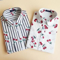 DCCKF4S 19 Colors Floral Long Sleeve Vintage Blouse Cherry Turn Down Collar Shirt Blusas Feminino Ladies Blouses Womens Tops Stylish