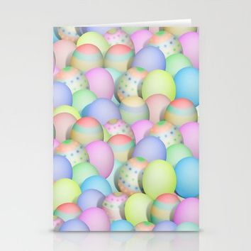 Pastel Colored Easter Eggs Stationery Cards by Gravityx9