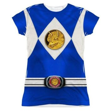 Power Rangers Blue Ranger Costume Sublimation Junior T Shirt