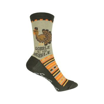 Gobble Til You Wobble Crew Socks in Hemp Heather
