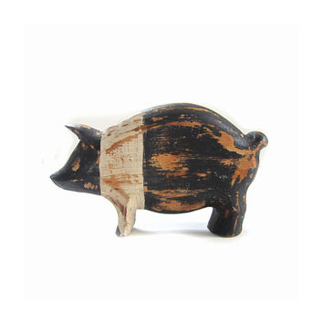 Vintage Farmhouse Rustic Wooden Pig Animal