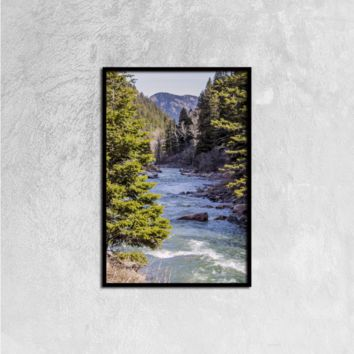 Yellow Stone River - Canvas Wall Art Black Vertical Frame Ready to Hang, 16ⅹ24 inch