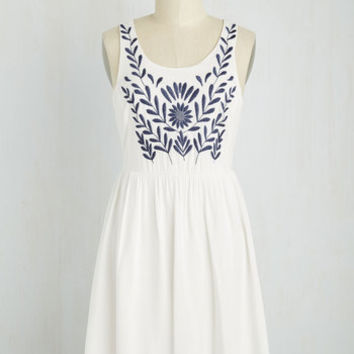 The Folky Pokey Dress in White