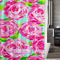 "New Lilly Pulitzer Roses Pattern Custom Shower Curtain 60"" x 72"""