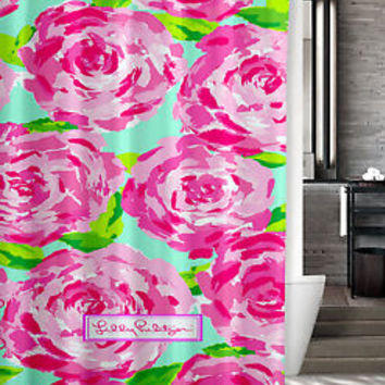 "New Lilly Pulitzer Pattern Roses Custom Shower Curtain 60"" x 72"""