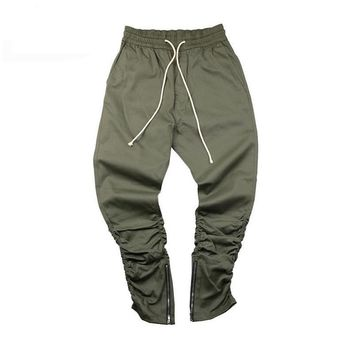 Army Pants Casual Skinny Zipper Sweatpants Solid Hip Hop high street Trousers Pants Men Joggers Slimming pants