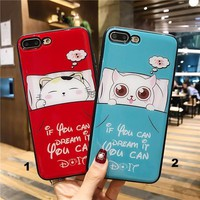 The dreaming cat Glass texture mobile phone case for iPhone X 7 7plus 8 8plus iPhone6 6s plus -171212