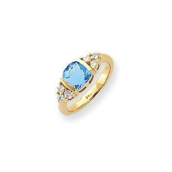 0.246 Ct  14k Yellow Gold 7mm Blue Topaz Checker Diamond Ring SI2/SI3 Clarity and G/I Color