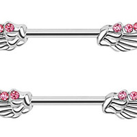 Angel Wings with Lined CZ's 14GA Nipple Bar Barbells Rings - Sold as a Pair (Pink)