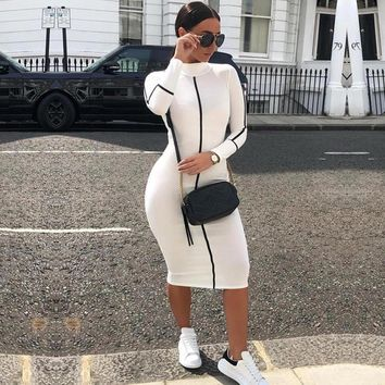 Women Dresses Solid Color Casual Fashion Long Sleeve Turtleneck Dress White Color Long Dress for Girls Autumn Winter Clothing