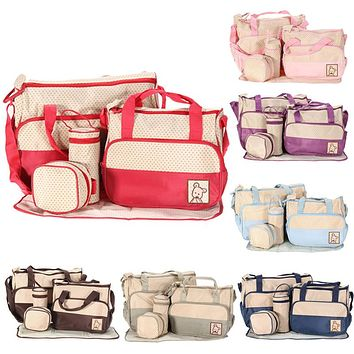 5pcs Set Tote Baby Shoulder Diaper Bags Toddler Nappies Organizer Storage Bag Mother Mummy Bag Colorful Baby Nappy Bag for Mom