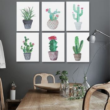"Fashion New Fresh Green cactus Cactus Canvas Painting Print Picture Living Room Home Wall Decor Unframe 15.75""X11.81"""
