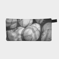 Baseballs in Black and White Pencil/Makeup Pouch