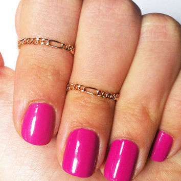 2 Above the Knuckle Rings - gold filled thin chain rings - set of 2 dainty midi rings