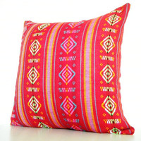 Tribal Red Throw Pillows 14 Inch 36cm Aztec by CityGirlsDecor