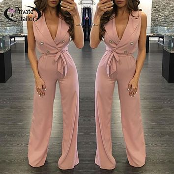 2016 Classical Basic Office lady Jumpsuit Women Rompers Pink Work business Jumpsuits sexy  V neck Tie ladies Playsuits Overalls