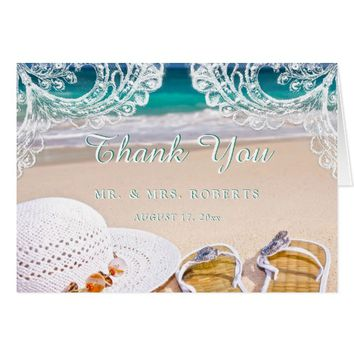 Turquoise Ocean Beach Summer Thank You Wedding Card