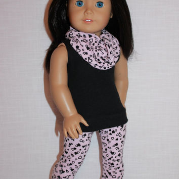 18 inch doll clothes,  doll tank top, pink heart print leggings with matching infinity scarf,  Upbeat Petites