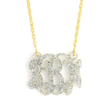 Acrylic Small Floating Monogram Necklace ( More Colors Available)