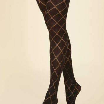 Famous Lattice Words Tights | Mod Retro Vintage Tights | ModCloth.com