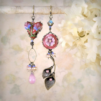 Wildheart - Romantic Earrings, Pink Asymmetrical Mismatch, Shabby Chic Heart Flower Earrings Mauve Rose Lavender Periwinkle Garden Wedding,
