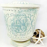 Vintage Sailing Ship Embossed Metal Tin Container Distressed Shabby White and Blue