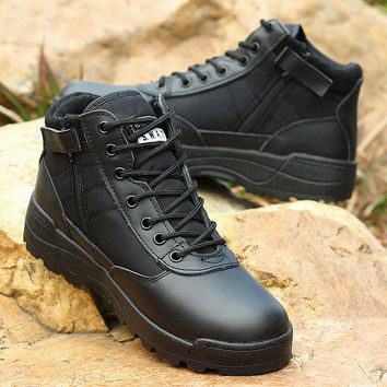 2017 light leather military men boots combat   men asker bot Infantry tactical boots army bots for man with black and yellow