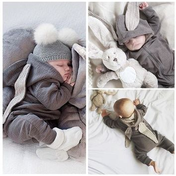 Baby Clothes 2018 Newborn Baby Girl Boy Cute 3D Bunny Ear Romper Jumpsuit Playsuit Autumn Winter Warm Bebes Rompers