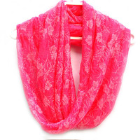 Hot Pink Infinity Scarf. Circle scarf. Loop Scarf. Women Accessories.