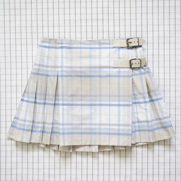 Burberry Baby Blue Plaid Skirt, Tartan Skirt, School Girl Skirt, Buckle Plaid Skirt, Japanese School Girl, High Waisted Skirt,  Tumblr