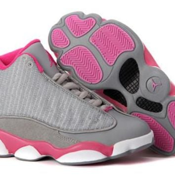 Hot Nike Air Jordan 13 Retro Women Shoes Grey Pink White