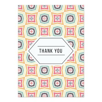 Retro Geometric Thank You Card