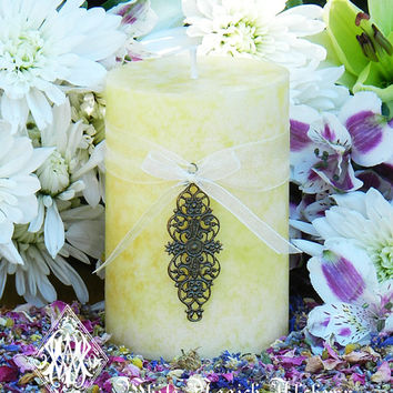 Whipped Cream Vanilla Pear Candle 3x4 Ostara . Flourishing Abundance, Renewal, Fertility, Purity and Illumination, Pagan Wicca