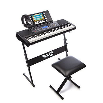 RockJam 61-Key Electronic Keyboard SuperKit with Stand, Stool, Headphones & Power Supply