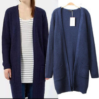 Long Sleeve Knit Long Cardigans Sweater