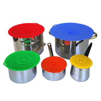 Universal Silicone Suction Lid-bowl  Cooking Pot Lid-silicon Stretch Lids Kitchen Spill Lid Pressure Seal Stopper Valve Cover
