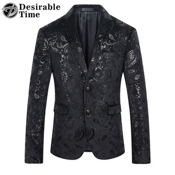 Men Black Sequin Blazer Jacket Slim Fit Size M-4XL 2017 Fashion Party Stage Mens Paisley Floral Velvet Blazer DT184
