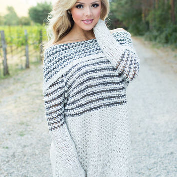 Tonight's Moon Long Sleeve Cowl Neck Knit Sweater Dress