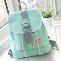 Cute Mint Green Canvas Schoolbag Sweet Student Buckle Solid Backpack