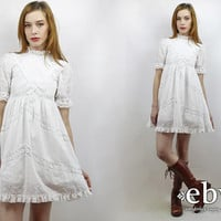 Babydoll Dress Dolly Dress Vintage 70s White Lace Puff Sleeve Mini Dress XXS Lolita Dress White Dress Puff Sleeve Dress Lace Dress