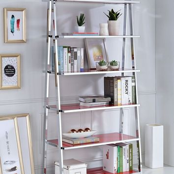 Acme 92453 Coleen red high gloss wood chrome metal 6 tier book case shelf unit
