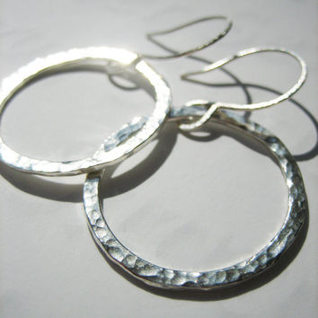 Hammered Sterling Hoops (Sterling Silver Hoop Earrings) Modern, Simple, Chic, Minimalist, Glam, Hipster, Lightweight, Sparkly, Shiny, Bling