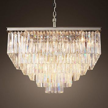 Gorgeous Crystal Chandelier. Free Shipping! Luxury French Country, Coastal Cottage, Shabby Chic Vintage, RH Square Chandelier Crystal Pendant Hanging Light Ceiling Chandeliers Lamp for Home Decor