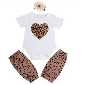 New Infant Casual Clothing Baby Girl Heart Shape Leopard Print Bodysuit+Shorts+Headband Outfit Kids Clothes