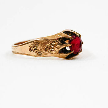 Antique Gold Ruby Ring, Victorian Gold Engraved Ring, 10K Gold & Simulated Ruby, M J Co., July Birthstone, late 1800s, Antique Jewelry