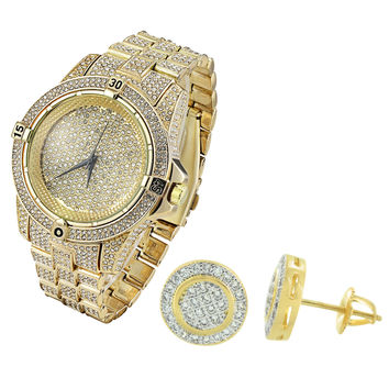 Fully Iced Out Men's Techno Pave Yellow Gold Finish Hip Hop Watch & Cluster Earrings Combo Set