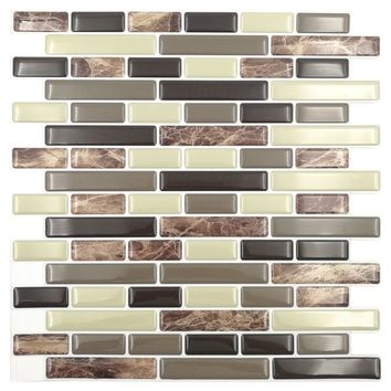 Cocotik 4 Pieces Peel and Stick Wall Tiles 10.5''x10'' 3D Wall Sticker Wall Paper Kitchen Backsplash Tile