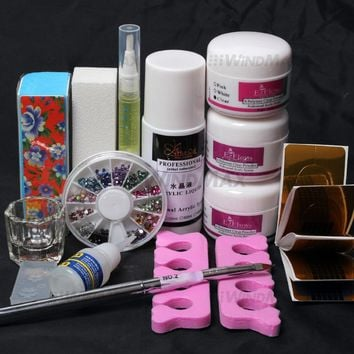 14PCS/set Nail art cosmetics makeup set Acrylic Powder liquid nail extension make up tool kit
