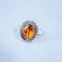 Gorgeous Amber Ring - Silver ring - stone ring - Bezel ring -Amber Jewelry - Jaipur Jewelry- Baltic Amber silver ring - Silver Gemstone Ring